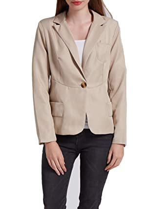 5b66e445f11 KENANCY Womens Blazer Jacket Work Office Slim Fit Casual One Button Suit  Coat at Amazon Women s Clothing store