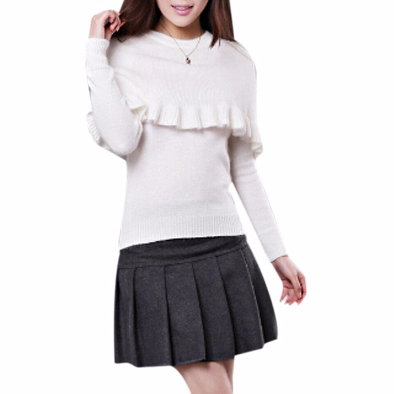 Women Winter Falbala Cape Collar Knitting Sweater Rabbit Hair Long Sleeves Warm