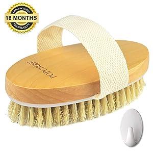 Dry Brushing Body Brush, POPCHOSE Natural Bristle Dry Skin Exfoliating Brush Body Scrub for Flawless Skin, Cellulite Treatment, Lymphatic Drainage and Blood Circulation Improvement, Medium Strength