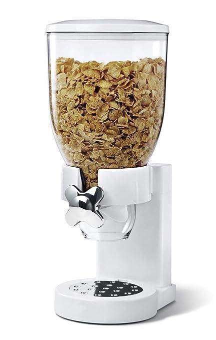 Brillo único dispensador de cereales alimento seco contenedor pasta – Robot de cocina, color blanco