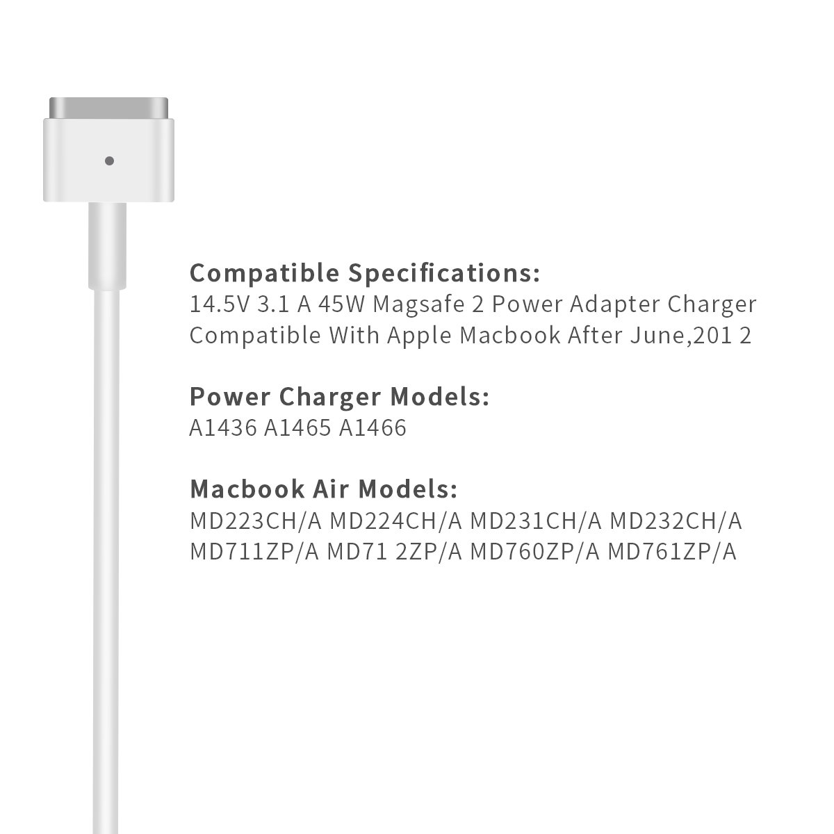 Mac Book Air Charger, AC 45W Magsafe 2 T-Tip Power Adapter Charger Replacement For MacBook Air 11/13 Inch (MacBook Air After Mid 2012) by Niceep (Image #5)
