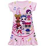 FSBBUT Girls Dress Printed Pattern Design Casual Loose Pajamas Nightgown for Doll LOL Surprised.