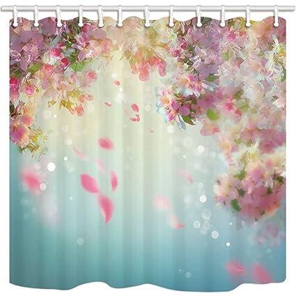 SZZWY Spring Flower Bath Curtains For Bathroom Cherry Blossom With Falling Petals Wedding Mildew