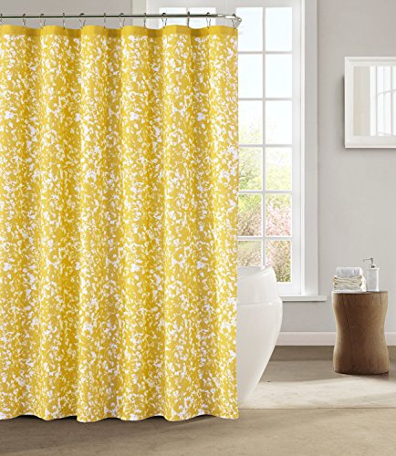 Kensie - Susie Printed Dotted Paint Art Décor Mildew Resistant Fabric Shower Curtain Liner For Bathroom Waterproof | Water Repellent & Antibacterial - Assorted Colors - (72 X 72 Inch - Yellow) - Shower Curtain Measures: 72-inch Wide by 72-inch Long Made with a mold, mildew, and water-resistant fabric for long-lasting use & good looks Brighten up your bathroom with these gorgeous shower curtains, they match both room color and your home - shower-curtains, bathroom-linens, bathroom - 61QLlAwg EL -