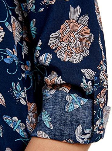 oodji Ultra Mujer Blusa Estampada de Viscosa Azul (7912F)