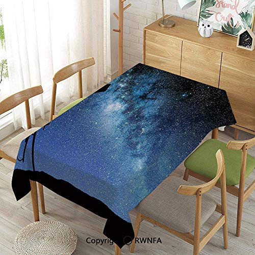 (Homenon Decorative Rectangular Table Cloth,Telescope Valley Under Starry Night Sky Milky Way Atmosphere Galaxy Astronomy,Waterproof Stain-Resistant,Dark Blue Black,55