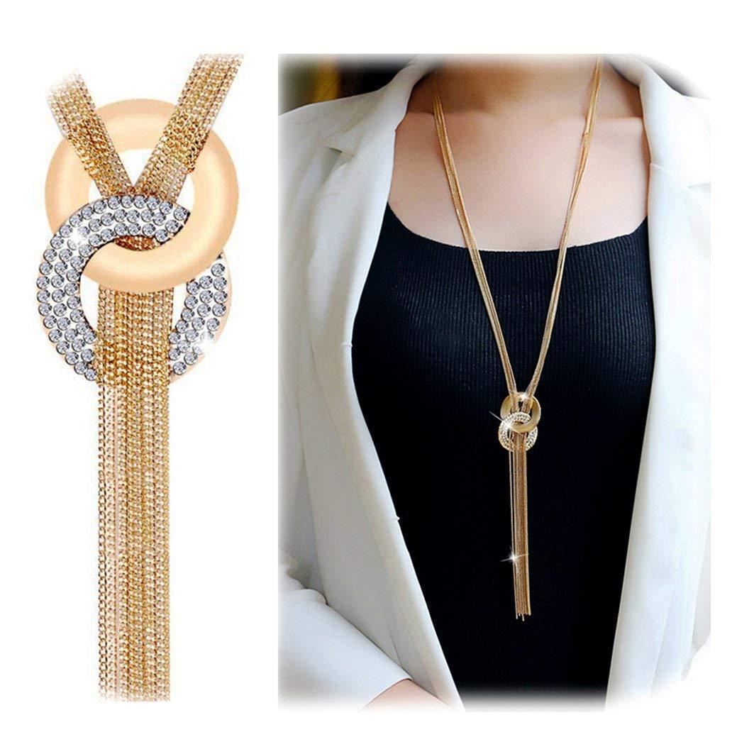 Olseti Rhinestone Metal Pendant Chain Jewelry Long Tassel Sweater Necklaces