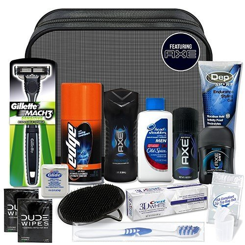Convenience Kits Young Men's Premium 15-Piece Travel Kit, Featuring: Axe Hair and Body Products