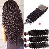 Unice Hair 7A Brazilian Deep Wave Virgin Hair 4x4 Lace Closure with Bundles, 100%Unprocessed Human Hair Extensions Natural Color (16 18 20+14, Closure)