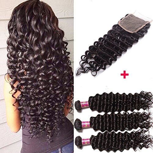 Unice Hair 7A Brazilian Deep Wave Virgin Hair 4x4 Lace Closure with Bundles, 100%Unprocessed Human Hair Extensions Natural Color (16 18 20+14, Closure) by UNICE