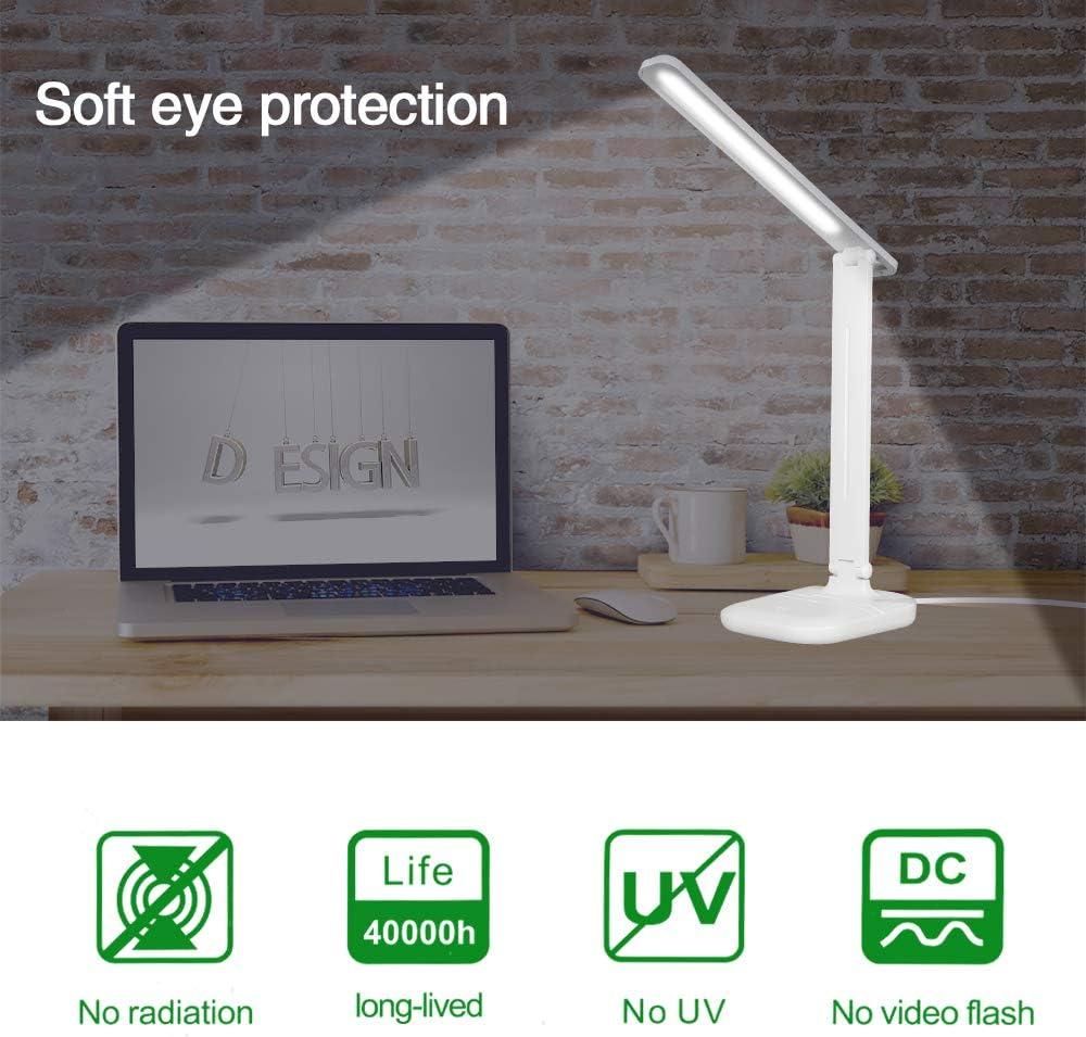3 Helligkeitsstufen Augenschutz Tischleuchte,Touchfeldbedienung B/üro Tischleuchte Energieeffiziente Leselicht Dimmbare Schreibtischlampen mit USB-Ladeanschluss Schreibtischlampe LED