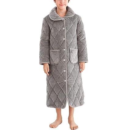 ZZHF shuiyi Pijamas, Niño Espesar Cómodo Camisón Suelto Masculino Invierno 3 Capas Pijamas de algodón