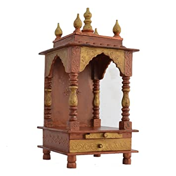 Buy Jodhpur Handicrafts Wood Home Temple Gold 8 2 Inch X 8 2 Inch X 20 6 Inch Online At Low Prices In India Amazon In