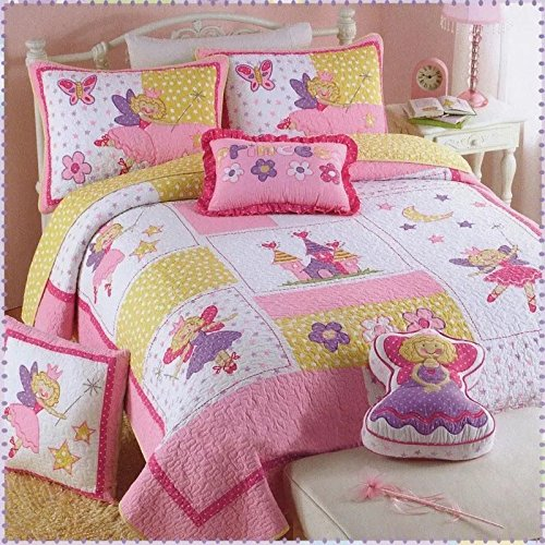 UFO Home 100% Cotton Quilt, 2pc Bedding Set, Applique Embroidery Pretty Princess, For Kids or Single Man Woman, Pink Color, Twin Size(Twin, Pretty Princess)