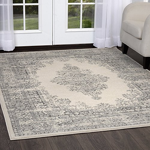 Home Dynamix Vintage Shilah Area Rug | Trendy Style, Distressed Finish | Durable Polypropylene Area Rug | Ivory and Gray | Fade and Stain Resistant, Easy to Clean, 47