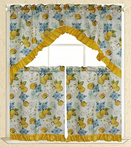 Elegance Linen Embroidered 3-Piece Kitchen Curtain Window Treatment Set – 2-Tiers : 30″ x 36″ and 1 Swag: 60″ x 36″ – Limoncello Design