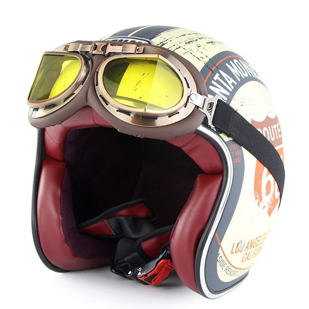 ヘルメット、モトクロスヘルメット、ビーチレースオフロードヘルメット、DOT認定3/4オープンフェイスオートバイヘルメットヴィンテージハーレーヘルメットチョッパーバイクヘルメット付きゴーグルサンバイザー  B07RB67K9H
