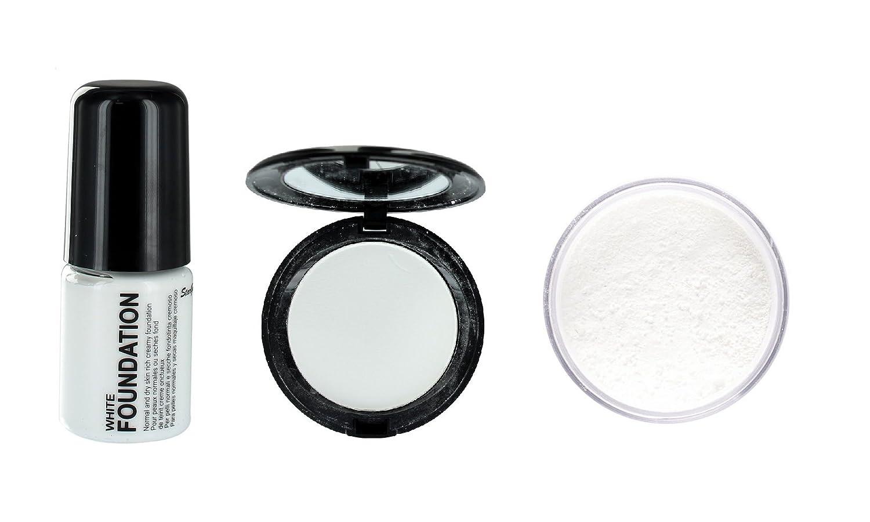 Stargazer White Liquid Foundation, White Compact & White Loose Face Powder Set Generic