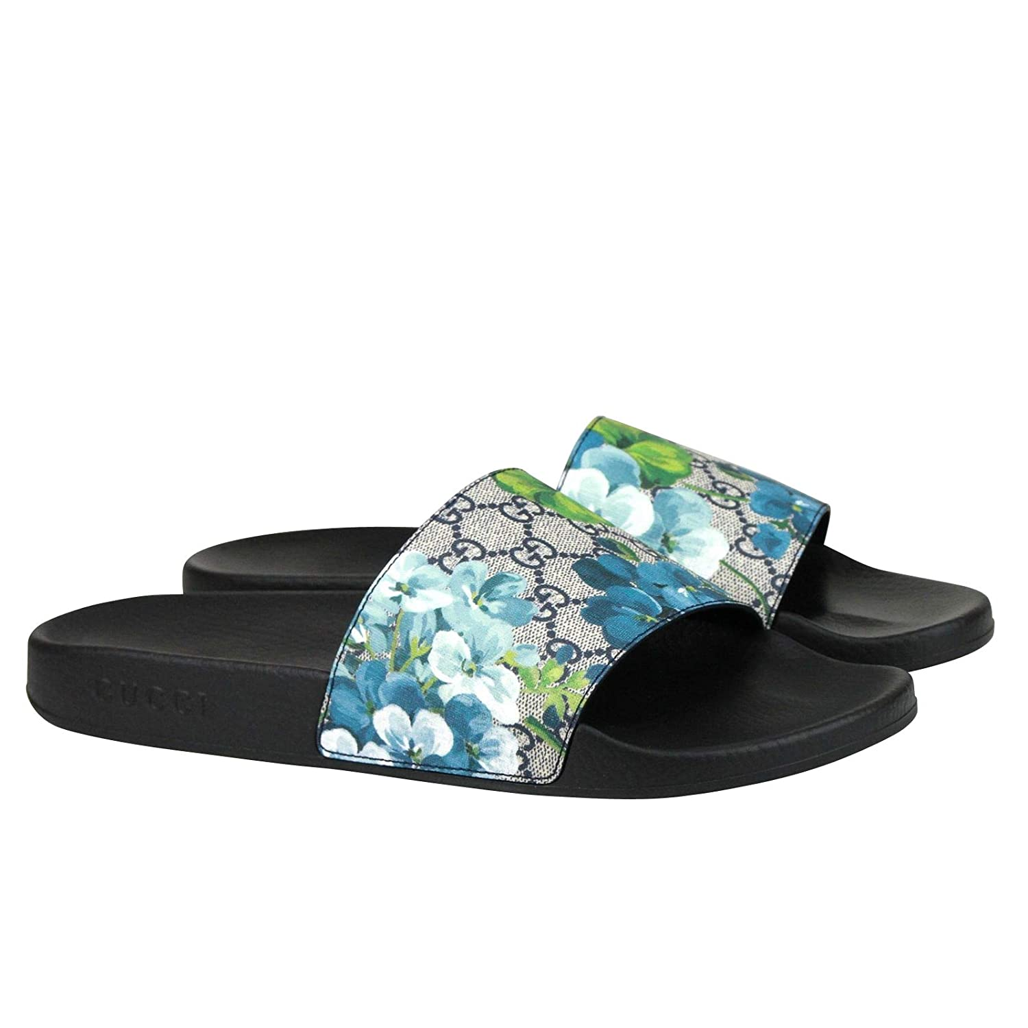 a4122feb3348ee Amazon.com  Gucci Bloom Print Blue Supreme GG Canvas Flower Slide Sandals  407345 8498 (14 G   15 US)  Shoes