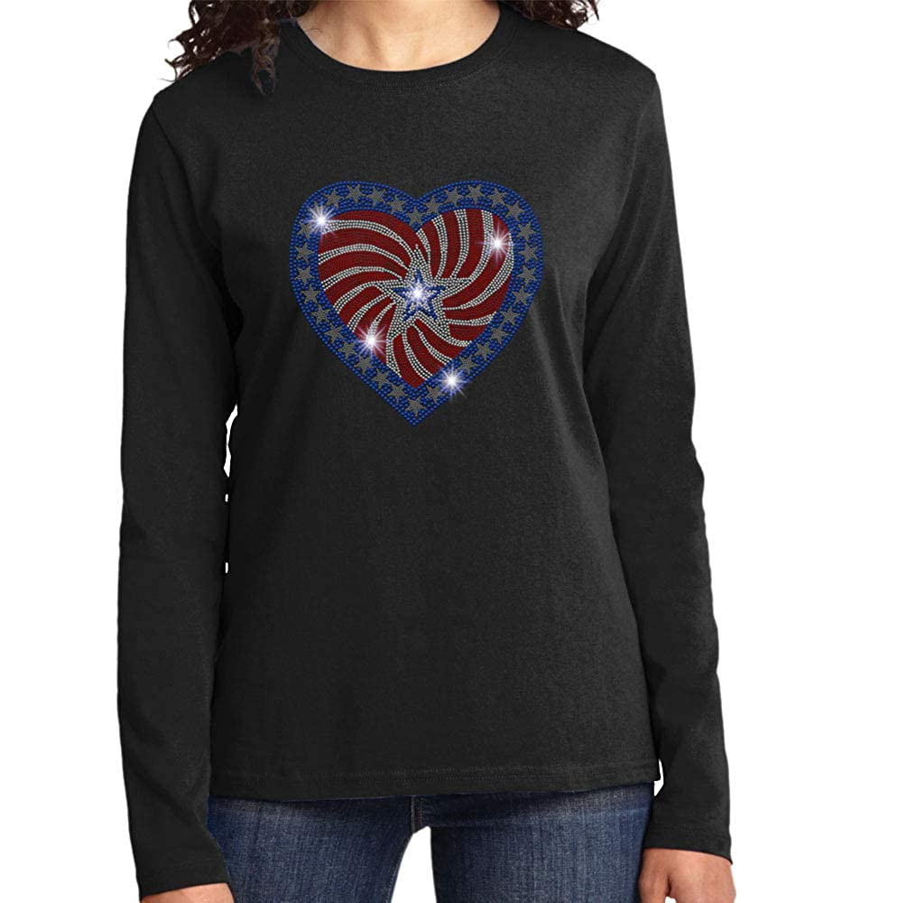 Beckys Boutique Patriotic Heart American Flag 4th of July Spangle Rhinestone Bling Shirt