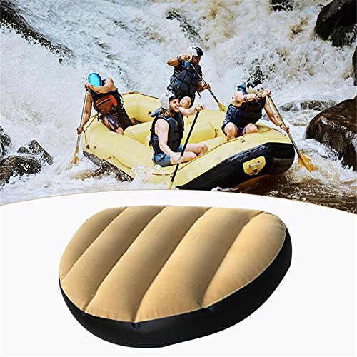 Inflatable Seat Cushion Boating Camping Fishing Rowing Canoe Pillow Pvc Boat Water Sports Durable Portable For Compact Foldable Mat Beach Grass Chair Pad Velvet Covers Outdoor Rafting Raft ()