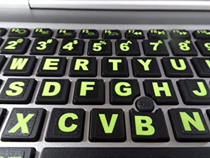 4b1e9d336a1 Fluorescent Keyboard Stickers. Commercial Grade Inlays (Not Printed Letters)  Plus USB Light.