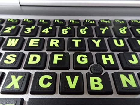 Fluorescent Keyboard Stickers  Commercial Grade Inlays (Not Printed  Letters) Plus USB Light  Will Not Wear or Fade  XLarge Symbols Great for  Sight