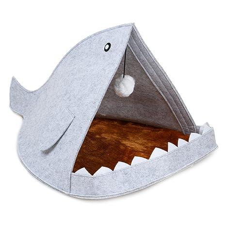 FJROnline - Cama de Dormir para Mascotas con Forma de tiburón Grande y Suave, cálida