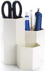 Vicoter Desktop Pencil Pen Holder, 3 Slots Pen Cup for Desk Office Stationery Organizer Makeup Brush Holder (White)