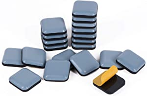 GINOYA Teflon Furniture Sliders, 20pcs 1inch Square Stick Furniture Glides for Carpet Tile Hardwood (Grayish Blue)