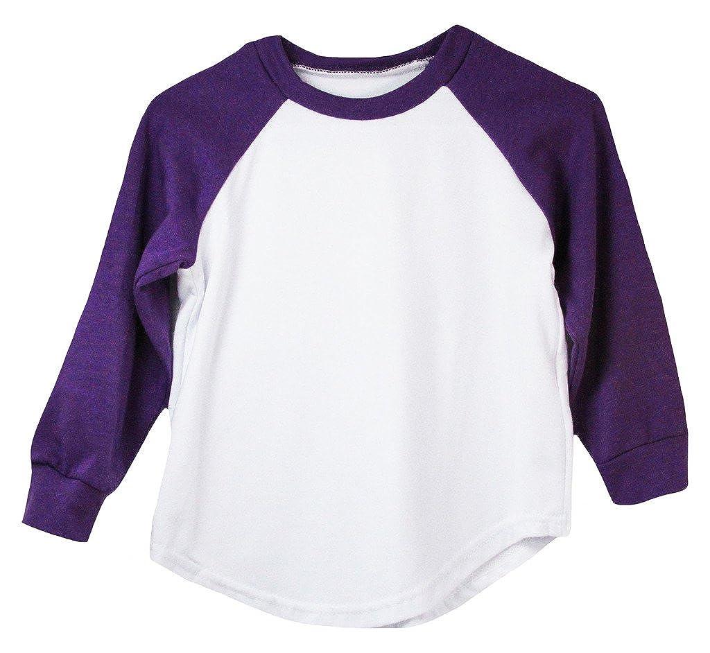 ea5880fad8d Amazon.com  Purple Long Sleeve Raglan Baseball T-Shirt  Clothing
