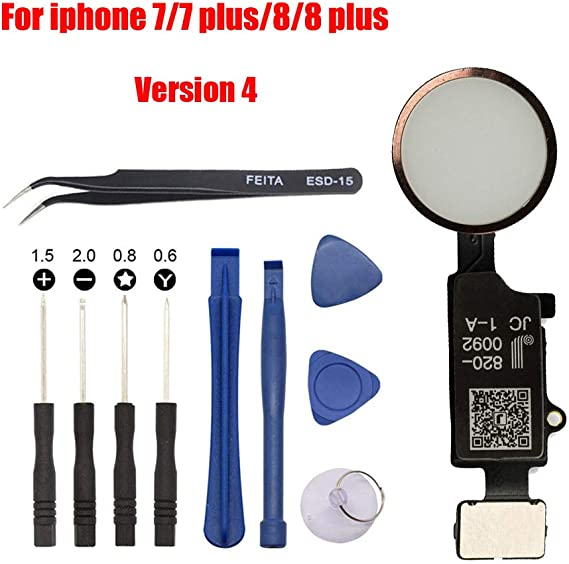 Version 4 Afeax Compatible with Apple iPhone Home Button Main Key Flex Cable Replacement for iPhone 7//7 Plus and iPhone 8//iPhone 8 Plus Gold