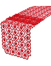 Boao Valentines Day Table Runner Red Heart Lace Table Runner Topper Tablecloth Dresser Scarf 14 x 72 Inch for Valentine Mother's Day Wedding Christmas Party Romantic Decorations
