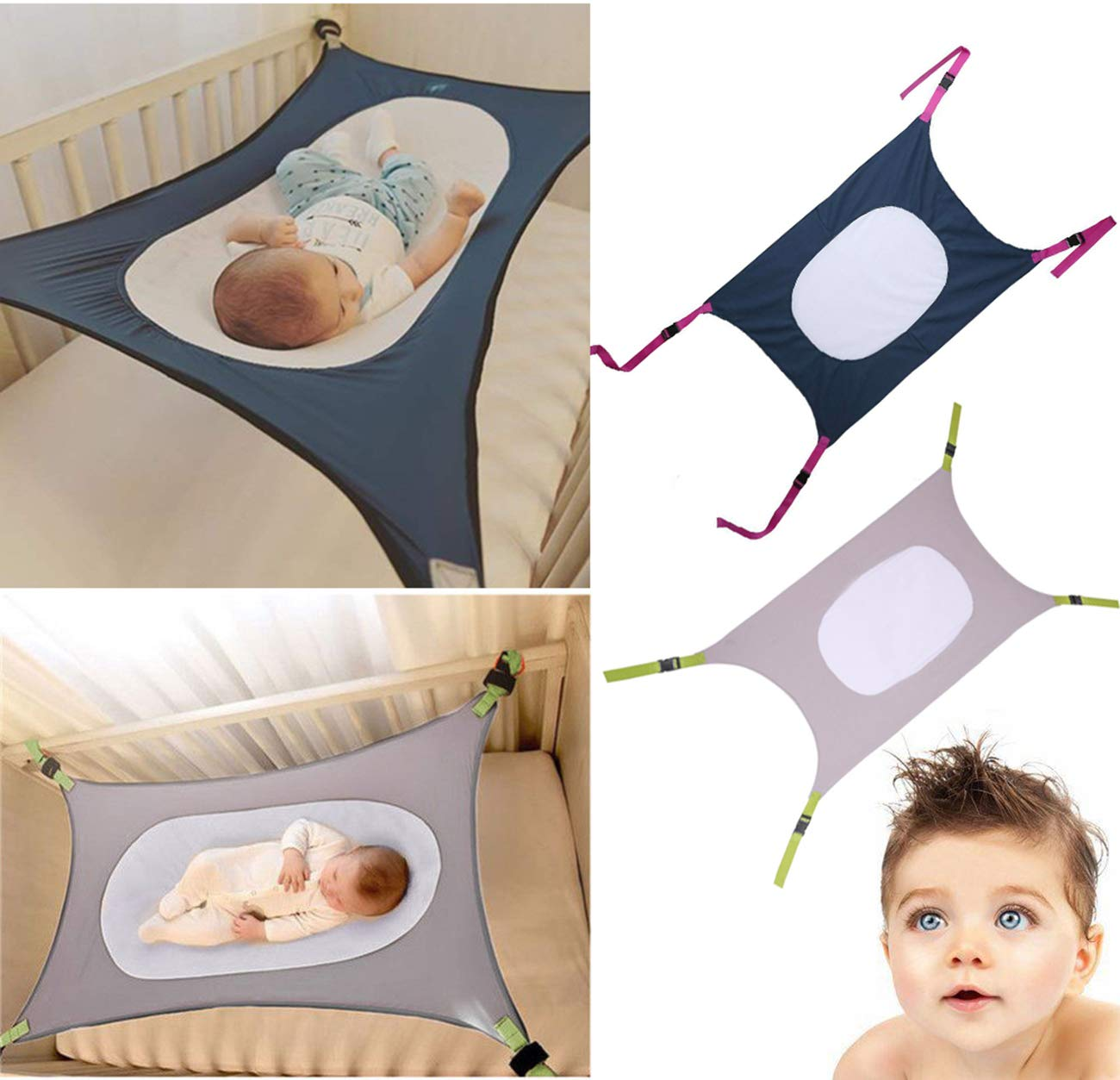 Porfiya Newborn Baby Hammock Swing Folding Infant Crib Safety Nursery Sleeping Bed with Strong Adjustable Oxford Straps Imitating Uterus Double Layer Breathable Net for Infants Mimics Womb Crad (Gray)