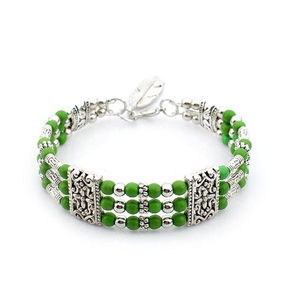FEDNON Turquoise Bohemian Bracelets Green Beaded Bracelet Multilayer Stack Bangle Bracelet for Girl