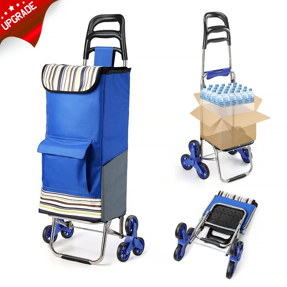 2018 Upgraded Folding Shopping Cart Stair Climbing Cart with Quiet Rubber Tri-wheels Grocery Utility Trolley with Wheel Bearings & Platform for Laundry Basket Koooper