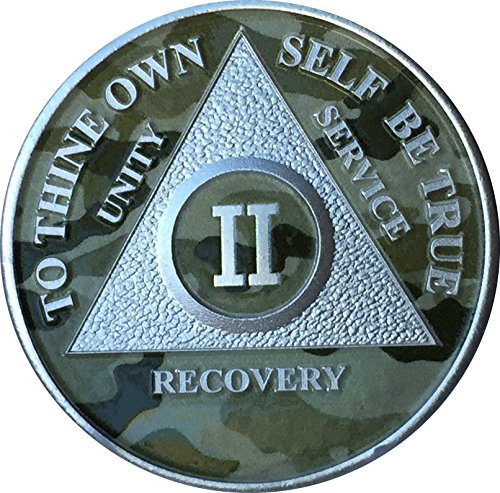 Camo & Silver Plated 2 Year AA Medallion Camouflage Sobriety Chip