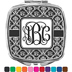 Monogrammed Damask Compact Makeup Mirror (Personalized)