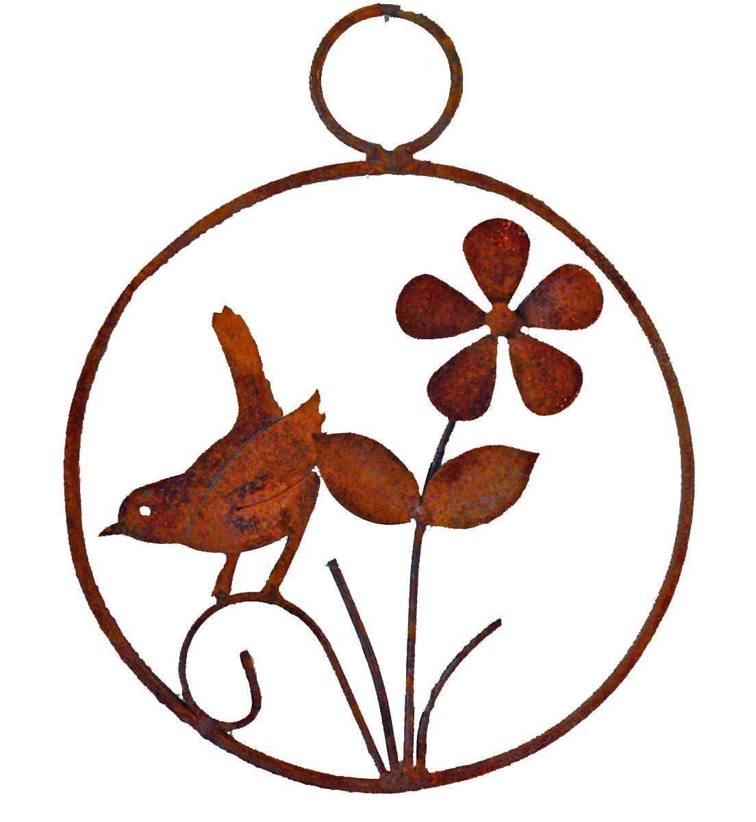 Elegant-Garden-Design-Bird-and-Flower-Wreath-Rusty-Patina