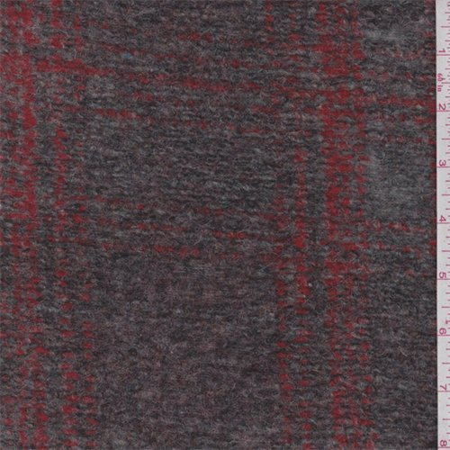 Brown/Crimson Plaid Boiled Wool Knit, Fabric by The Yard -