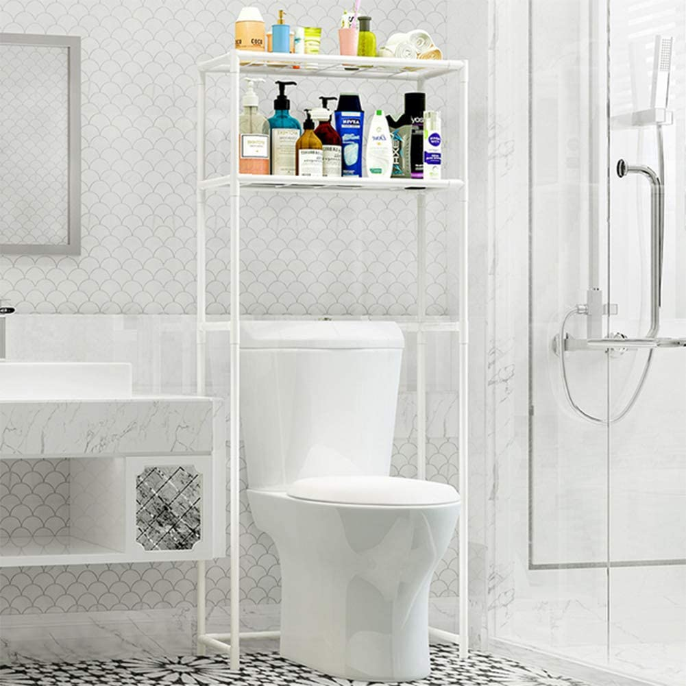 CZY Plancher /Étag/ère De Salle Bains Douche Rangement Machine /À Laver Toilette Murales Finition Baignoire pour Rack,White