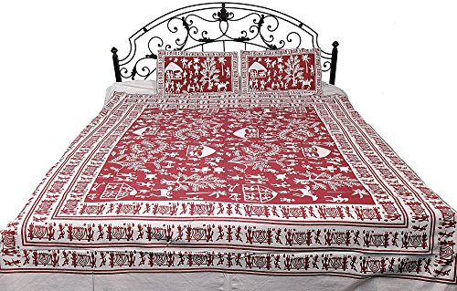Bedspread with Hand Printed Folk Figures - Color Lipstick Red Color ()