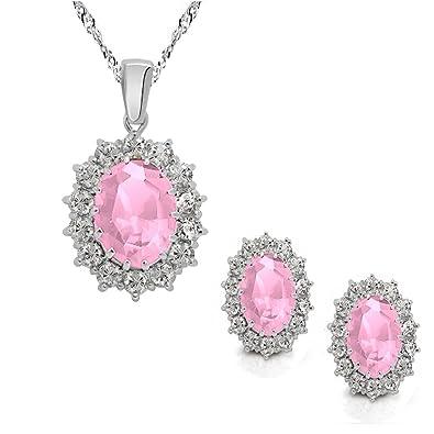 52953191a6e3 Lucky Las Niñas Rosa Cristal de Halo colgante collar pendientes joyas Set  mejor regalo para las niñas
