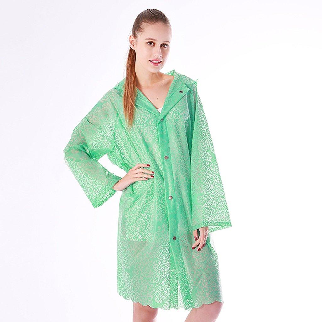 ZIXUAN Raincoat Female Adult Raincoat Outdoor Trekking Raincoat Translucent Adult Raincoat ( Color : Pink )