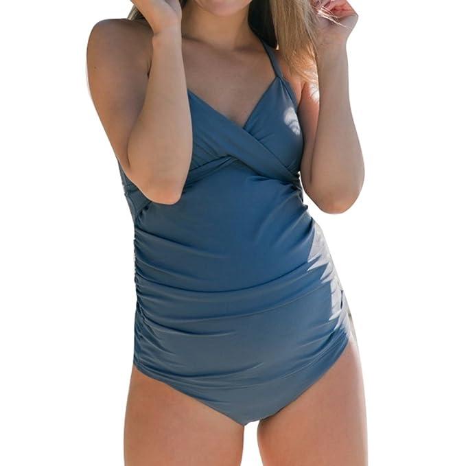 66c2a8401 Junkai Traje de baño de mujeres embarazadas poliéster playa Traje de baño  de mujer embarazada Traje de baño de una pieza  Amazon.es  Ropa y accesorios
