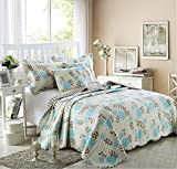 Luxury 3-Piece Patchwork Quilt Set with Shams Soft Reversible All-Season Cotton Bedspread & Coverlet with Blue Lotus Design,Full/Queen,90