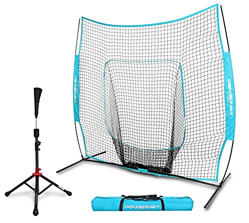 PowerNet Baseball Softball 7x7 Practice Net Bundle w/ Travel Tee (Sky (Practice Bat)