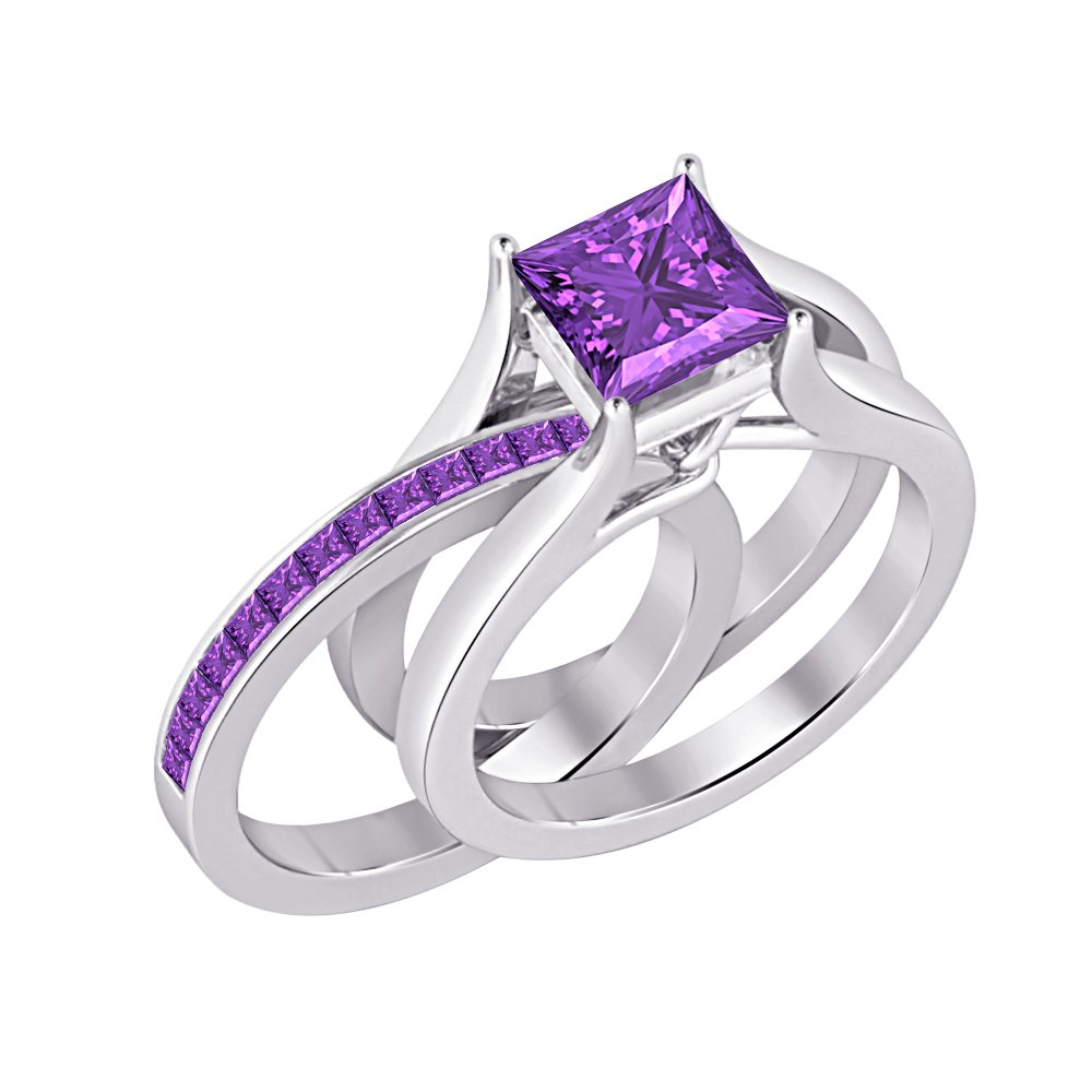 Gold & Diamonds Jewellery 1.85 ct.tw Princess Cut Created Amethyst 925 Sterling Silver Interchangeable Wedding Ring Set For Women's