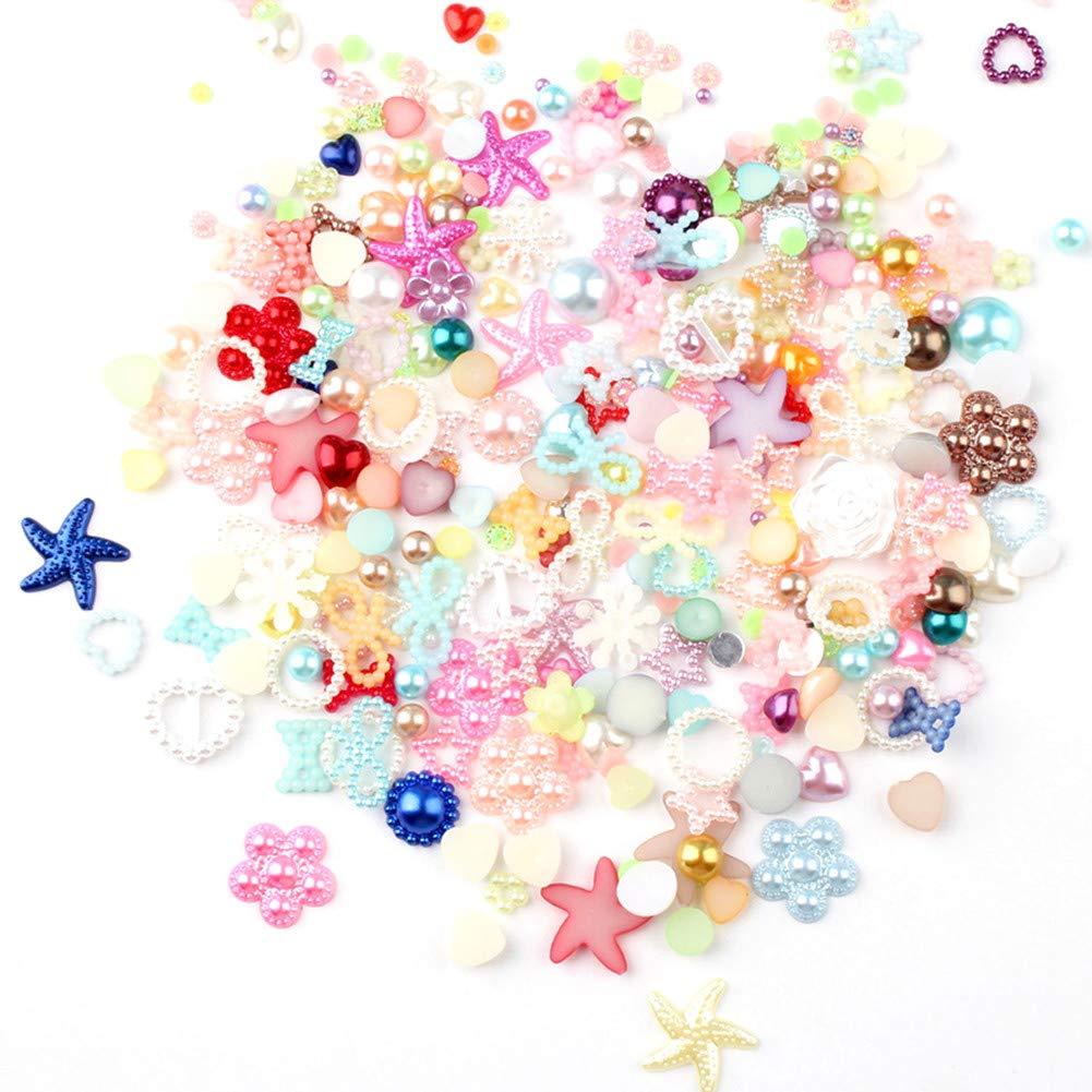 100pcs Pearl LOVE HEART Beads Flat Back Embellishments for DIY Craft Wedding