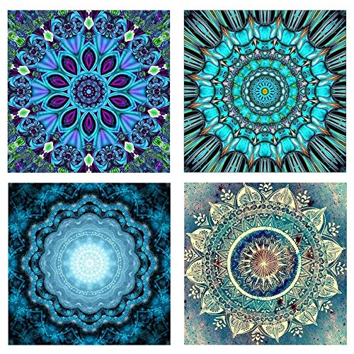 MHMJON 4pcs 9.8X9.8 DIY 5D Diamond Painting Cross Stitch by Number Kits Crystal Rhinestone Diamond Embroidery Paintings Pictures Full Drill Mandala Arts Crafts Home Wall Decor